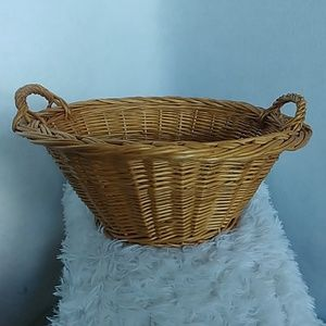 Vintage Accents - Vintage Wicker Rattan Basket